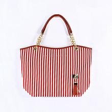 Latest handbag new design tote bag high quality canvas tote bag women Stripe Street Snap Candid Tote Canvas Shoulder tote Bag
