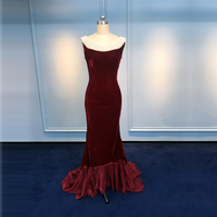 velvet evening gown wedding dress dark red color with pearl decorate off back