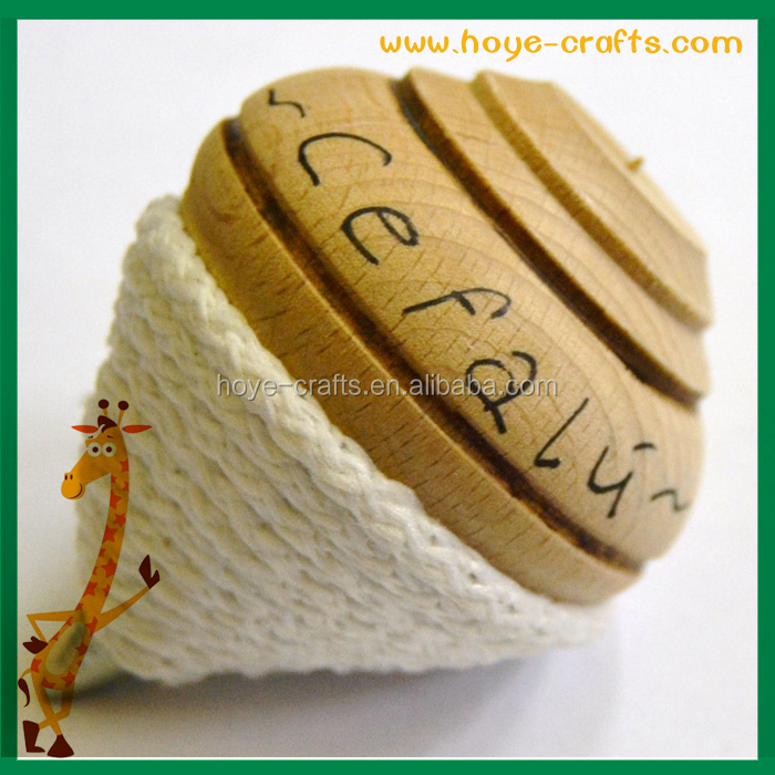 handmade new product spinning top with whipping cotton rope
