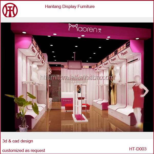 high end modern pink garment shop interior design for lady