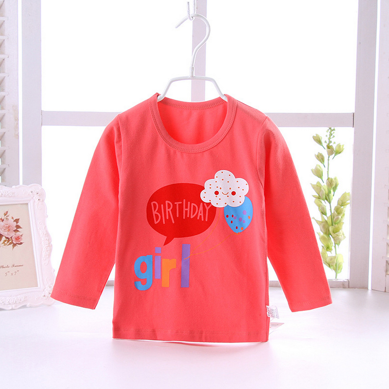 Red Cotton Long Sleeves kids T-shirt
