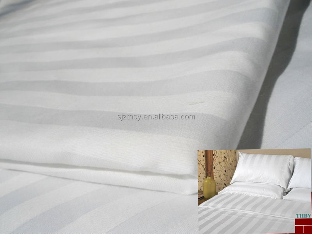 cotton textile material stripe jacquard and sateen hotel bedding set fabric