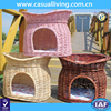 China supplier handmade weave comfortable small house for cat wicker indoor rattan dog house