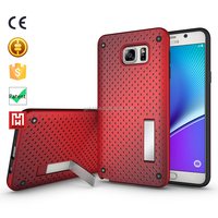 KickStand Shockproof TPU+PC bumper Net Mesh beautiful mobile phone covers case for samsung for galaxy note 5 cover case