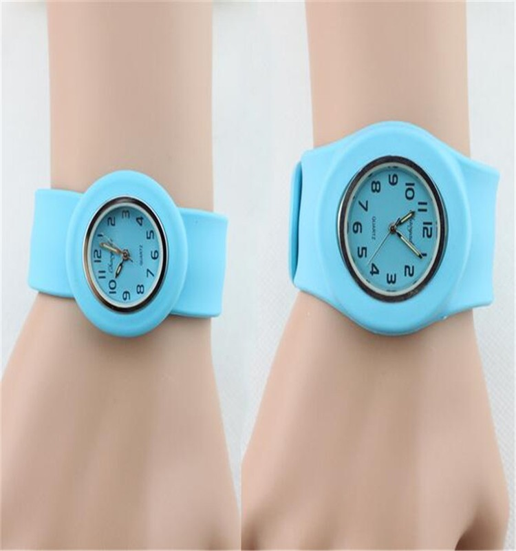 Fashion mix color slap watch, silicone slap adjustable wrist band watch for students