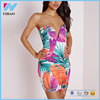 China supplier sexy strapless floral printing ladies new fashion dress Stylish Sexy Lady's Printed Party Mini Dress