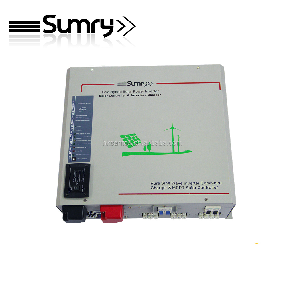 hybrid off grid solar inverter combined with solar controller and ac battery battery 1000w to 6000w battery priority function