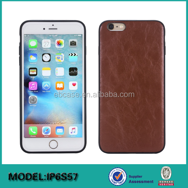 Tpu+leather back mobile phone case for iphone 6s,for iphone 6s tpu leather hybrid back cover