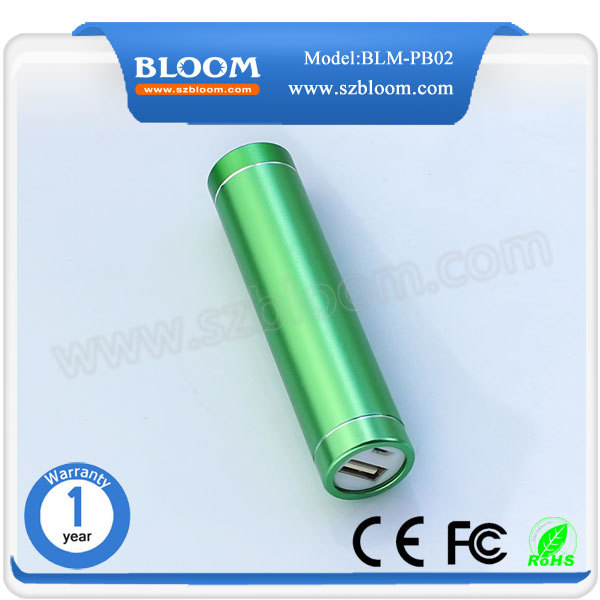 2015 Hot selling power bank Aluminium powerbank cylinder 2600mAh power bank for mobile phone usb charger