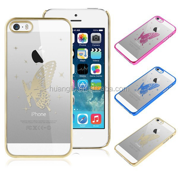 For Iphone 5s Transparent With Butterfly Skin PC Hard Back Case cover bags