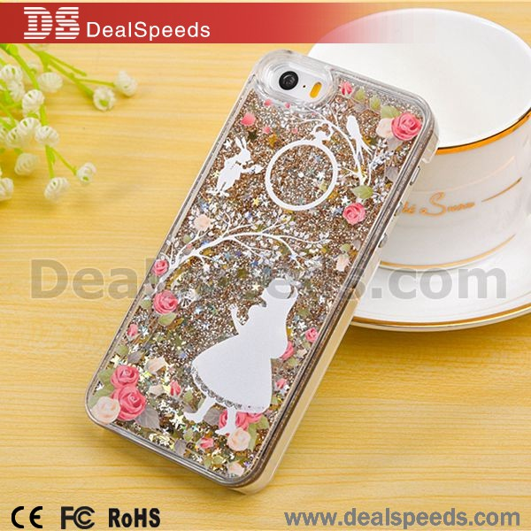 The Girl and Circle Glitter Quicksand & Stars PC Back Case Liquid Shell for iPhone 6s Cell Phone Cases
