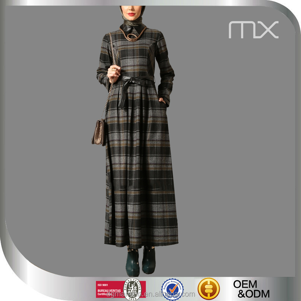 2016 Model Islamic Modern Coat Fashionabale Checkered Islamic Abaya