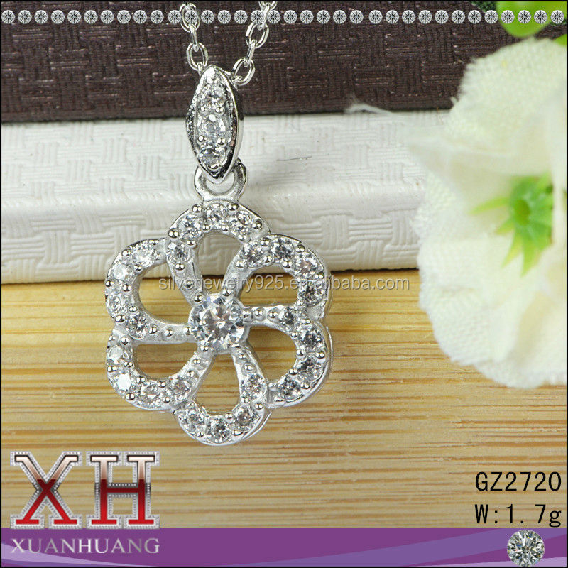 High Quality AAA Cubic Zirconia Flower Silver 925 Pendant