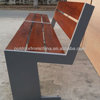 Steel solid wood park bench/outdoor bench