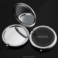Custom metal compact mirror / cosmetic mirror / pocket mirror with epoxy sticker