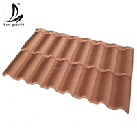 Colorful Roofing Solution Stone Chips Coated Metal Roof Tiles / Sand Coated Metal Roofing Tiles