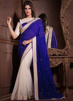 Lovely Blue Georgette Lace Work Saree