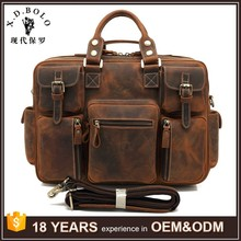 100% leather mens large travel laptop luxury leather bag