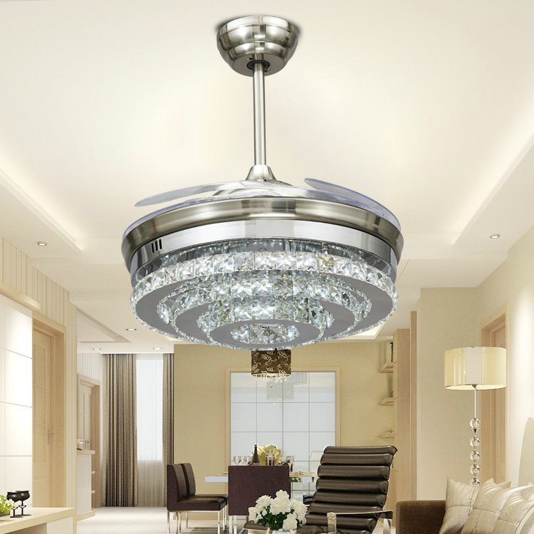 China new innovative product latest electric fan light Sand three silver crystal ball