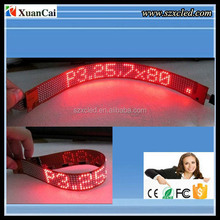 SMD Red flexible belt 30 X 2.8 CM Color programmable moving message belt/watchband/bottle ring