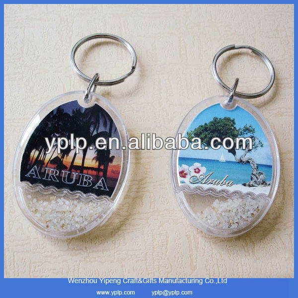2014 Custom Oval Shape Plastic Acrylic Key Chain Key Ring Key Holder With Sand Wholesale