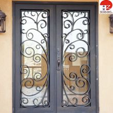 Wrought iron entry door with kick plate and thermos break