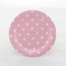"7"" Light Pink Baby Pink Polka Dot Round Small Paper Plates"