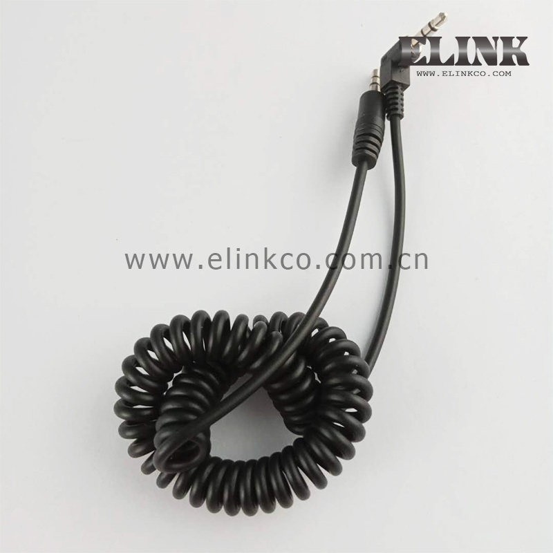 Coiled 3.5mm Stereo Audio Cable right angle to straight audio cable