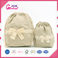 Global Promotional Drawstring Fashion Packaging Cotton Girl Outdoor Canvas Bag with Decoration