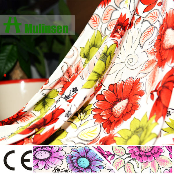 Mulinsen Textile Beautiful Flower Printed FDY Bali Fabric for Women Dress with Soft Hand Feeling