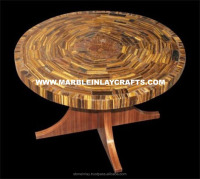 Tiger Eye Natural Stone Table Top With Wooden Base