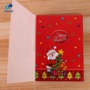 Wholesale merry christmas led light up musical singing greeting card