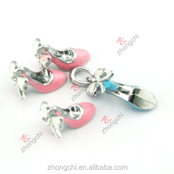 Enamel high heel charms pendant, high heel with bowknot decoriation pendant dangle