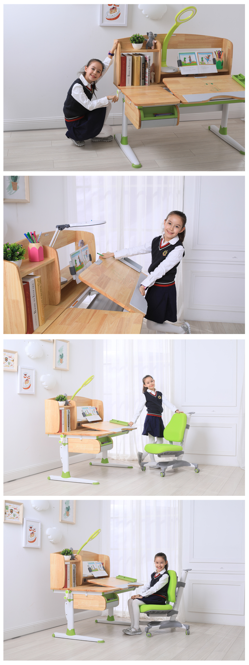 Wooden Study Table Height Adjustable For Kids