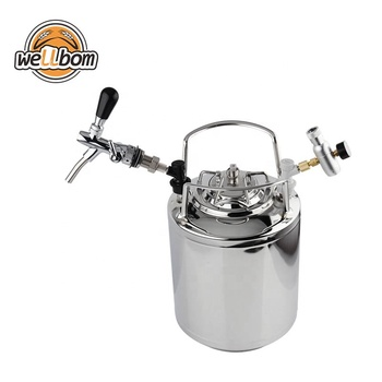 Stainless Steel 304 Ball Lock Cornelius 6L Beer Keg & Adjustable Beer Tap Faucet & Co2 Keg Charger kit Home Brewing