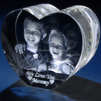 Nice heart shape crystal 3d laser photo printing for Mother's Day gift