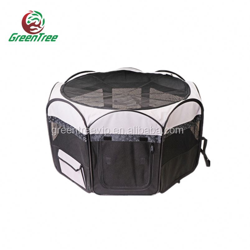 Foldble Portable Outdoor Pet Cage Playpen W/ With Plastic Tray Pan