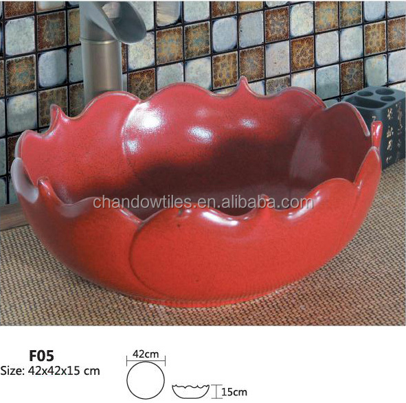 F05 Ceramic bathroom art basin single <strong>hole</strong> round ceramic art basin