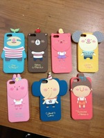 super cute Silicone big face kid child beans seed bear mouse rabbit elephant girl case for iphone 5 5s 4 4s