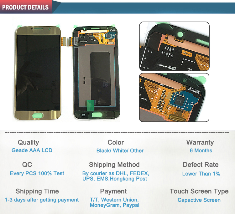 Quality product touch screen mobile phone lcd for Samsung S6