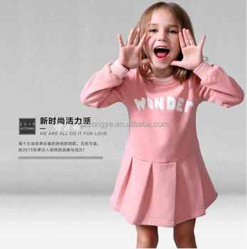 2015new kids long sleeve casual princess dress baby girl print fancy cotton dress photo garment factory OEM supply
