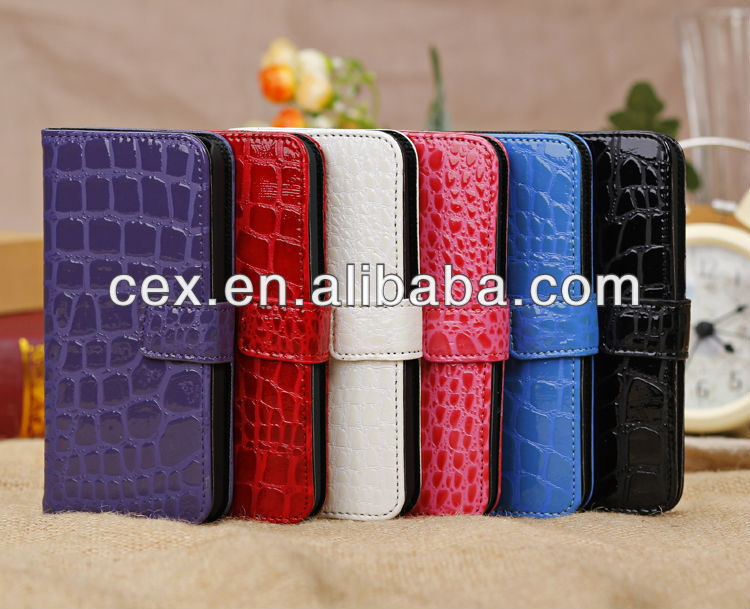 Fashionable Crocodile Skin Design PU Leather Wallet Flip Magnetic Closure Case for iPhone 5C