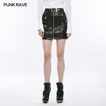 WQ-350 Punk Rave metallic black bling sexy tight leather short skirt