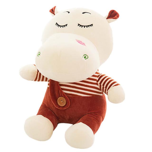 custom pink smile hippo plush toy