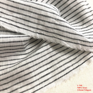 Wholesale Printed Washed Pure 100% Linen Fabric , Stripe Yarn Dyed Linen Fabric