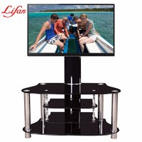 Hot sale modern living room furniture tempered glass tv stand wrought iron showcase