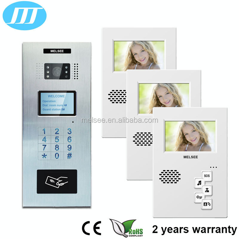4 inch multi apartment cat 5 one cable/ 4+2 wire analog video door phone handsfree video intercom door phone