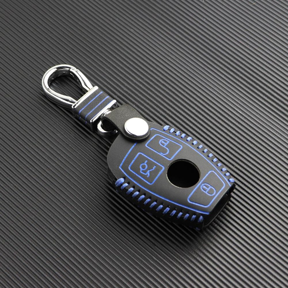 Top layer leather key cover for Mercedes Benz E S SLK class AMG <strong>W124</strong> W203 W210 W211 W204 keychain