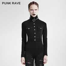 T-434 PUNK Slim-fitting Sexy Siamese Turtleneck Military Uniform Long Sleeve T-shirt
