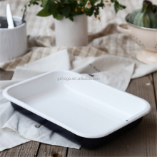 Customized Logo Printing Cast Iron Enamel Camping Coasting Tray For BBQ